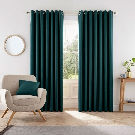 """Eden Lined Curtains 66"""" x 72"""", Teal"""