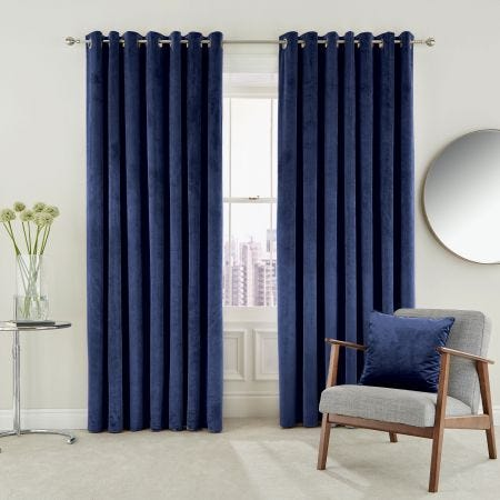 Escala Lined Curtains, Electric Blue