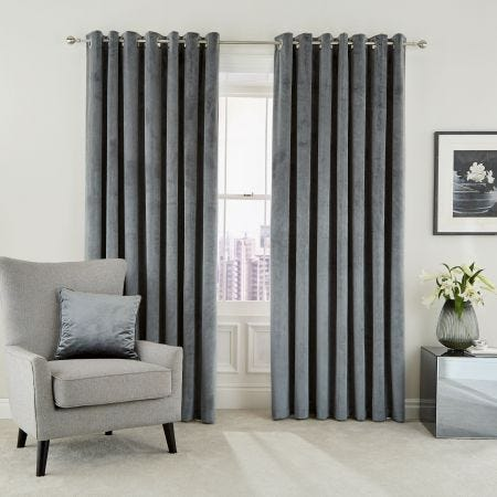 """Escala Lined Curtains 90"""" x 90"""", Steel"""