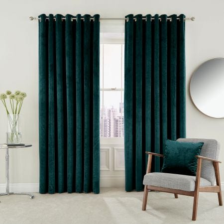 Escala Lined Curtains, Teal