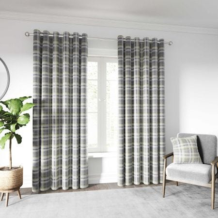 Harriet Curtains & Cushion Chartreuse/Grey