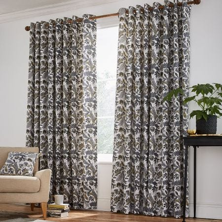 Jacaranda Grey Floral Curtains