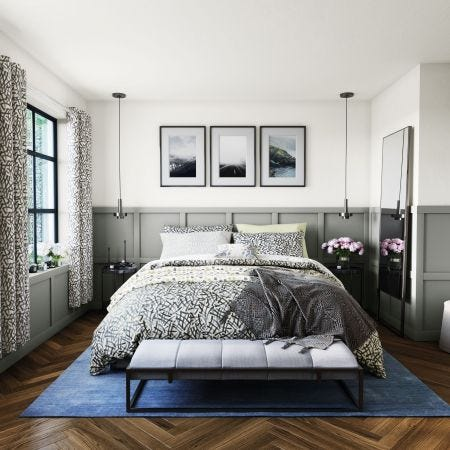 Anise Grey Patterned Bedding