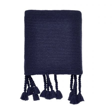 Cosmos Knitted Throw Navy