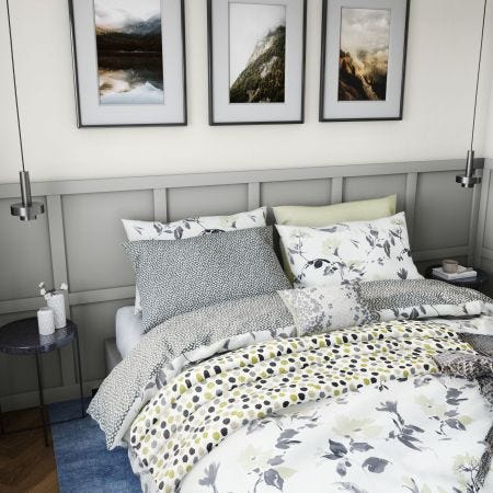 Peregrine Yellow & Grey Floral Duvet Cover Sets