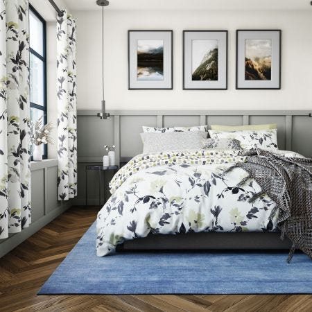Peregrine Grey & Yellow Floral Bedding