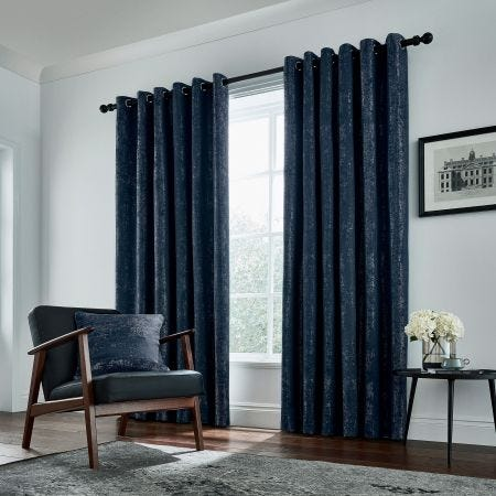 """Roma Lined Curtains 90"""" x 72"""", Navy"""