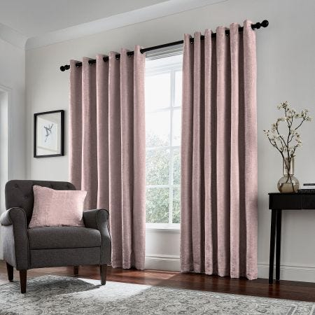 Roma Lined Curtains, Rose