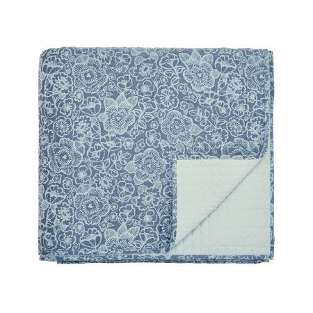 Sylvie Blue Quilted Throw