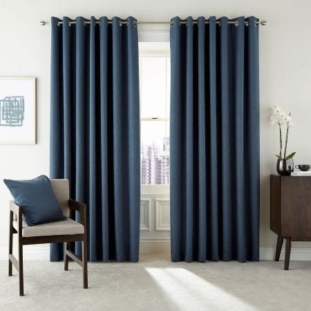 Barcelo Prussian Blue Lined Eyelet Curtains