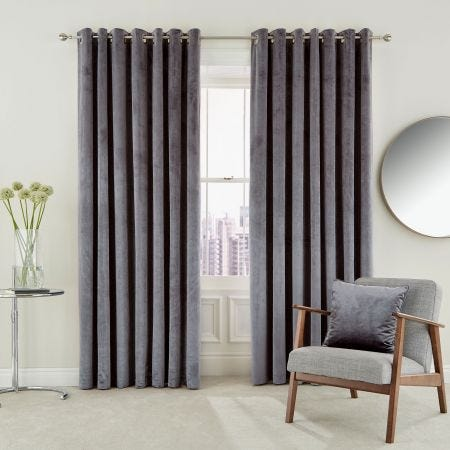 Escala Damson Lined Eyelet Curtains
