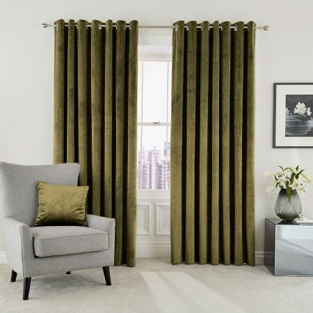 Escala Olive Lined Eyelet Curtains