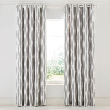 Usuko Lined White & Grey Patterned Curtains