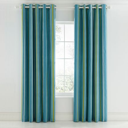 Mr Fox Teal Blue Striped Curtains