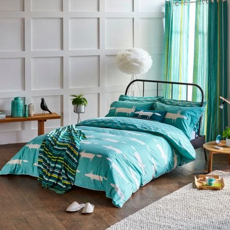Teal Mr Fox Bedding by Scion