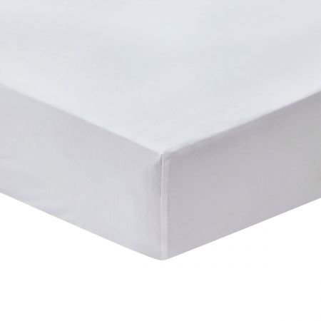 Cotton Percale Plain Dye Double Fitted Sheet, Chalk