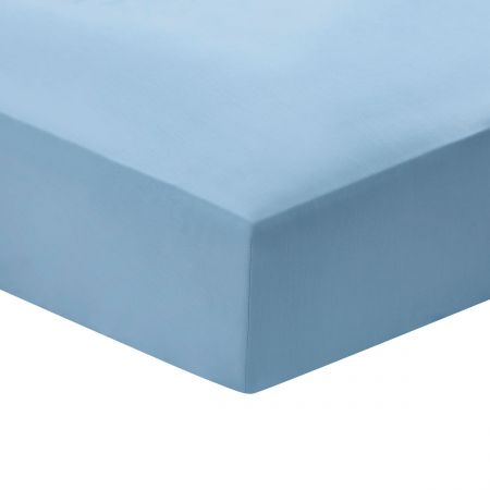 Cotton Percale Plain Dye Double Fitted Sheet, Coastal Blue
