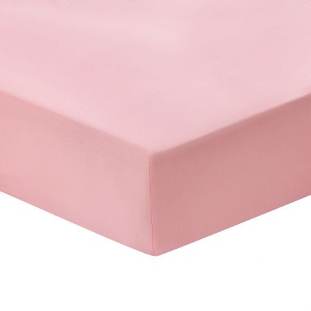 Cotton Percale Plain Dye Double Fitted Sheet, Kelmarsh Pink