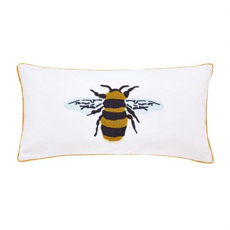 Botanical Bee Embroided Cushion Chalk Front