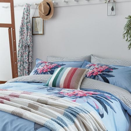 Cornish Floral Pale Blue Head of Bed