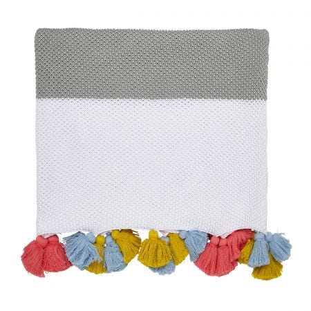Garden Dogs White Knitted Throw