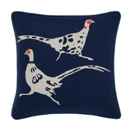 Twilight Pheasant Cushion Navy Front