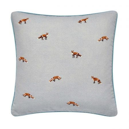 Joules Fox Cushion Grey & Teal