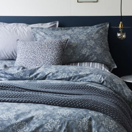 Murmur Kiku Floral Bedding In Copenhagen Blue