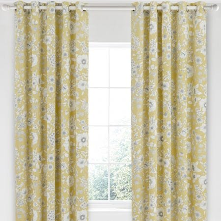 Maelee Yellow Floral Curtains by Sanderson