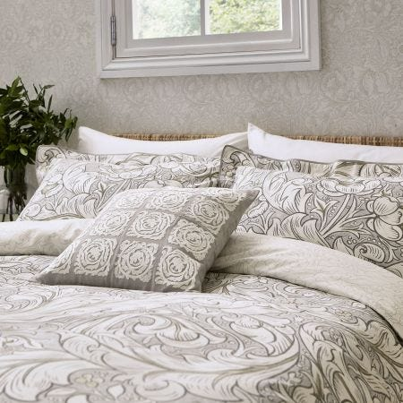 Pure Bachelors Button Double Duvet Cover, Stone & Linen