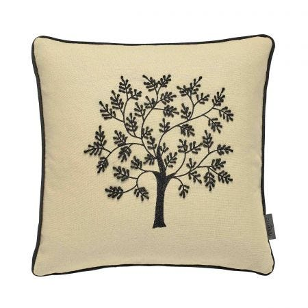 Seaweed Woodland Tree Cushion Black