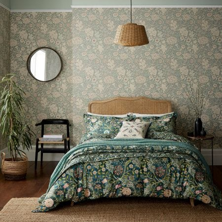 Wilhelmina Traditional Teal Green Bedding