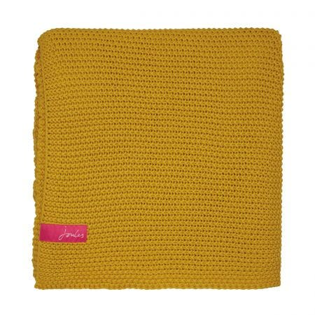 Moss Stitch Knitted Throw Gold