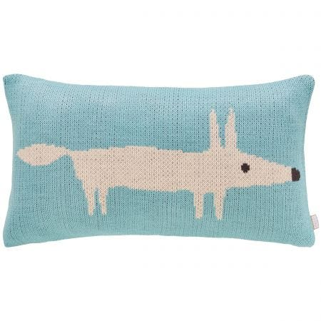 Lagoon Blue Mr Fox Cushion