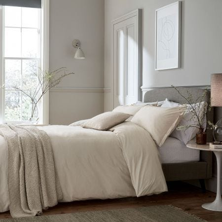 Calm Stonewashed Bedding in Plain Linen