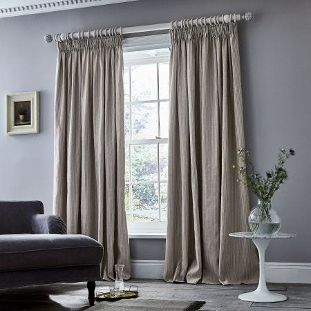 Eve Stripe Cloud Grey Lined Curtain