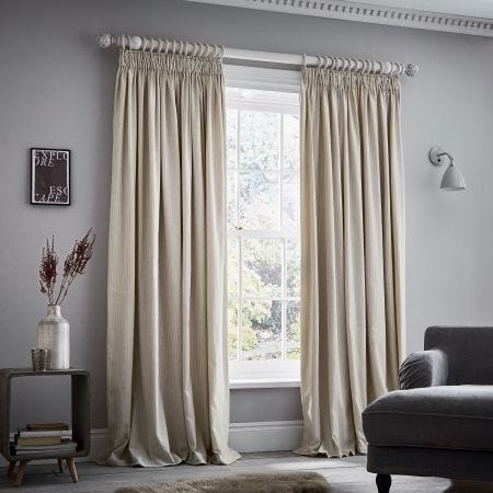 Eva Stripe Linen Lined Tape Top Curtain