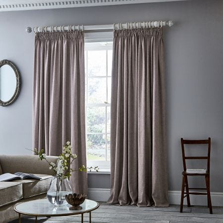 Niki Blush Tape Top Lined Curtains