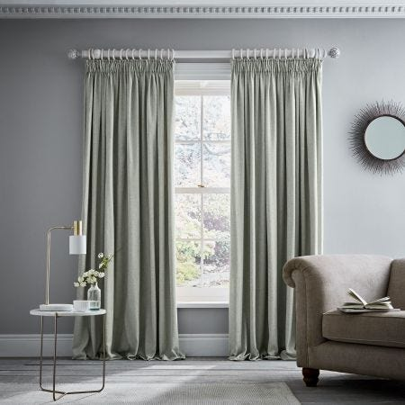 """Niki Pair of Lined Curtains 90"""" x 72"""", Sage"""