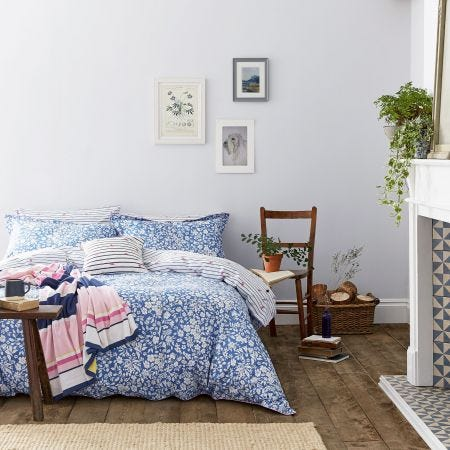 White & Blue Floral Bedding by Joules