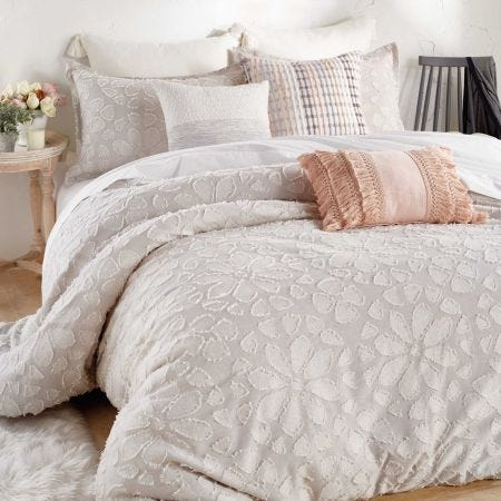 Clipped Floral Duvet Cover, Natural