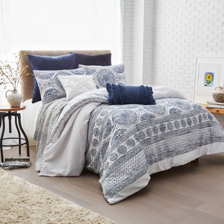 Matelasse Medallion Bedding Blue by Peri Home