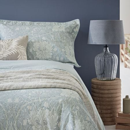 Pure Honeysuckle & Tulip Cushion Light Grey Blue