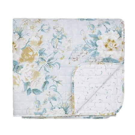 Giselle Quilted Throw Duck Egg