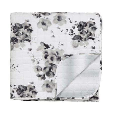 Mandarin Flowers Quilted Throw Grey