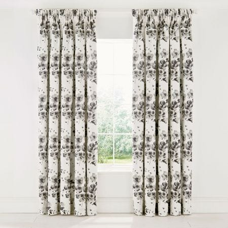 Mandarin Flowers Lined Curtains 66 x 72 Grey