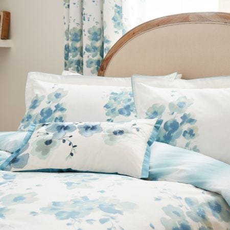 Mandarin Flowers Head of Bed Turquoise
