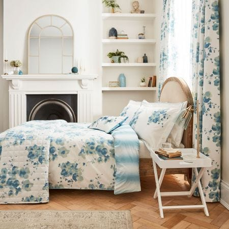 Mandarin Flowers Turquoise Floral Bedding