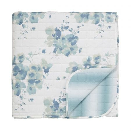 Mandarin Flowers Quilted Throw Turquoise