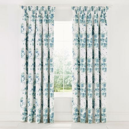 Mandarin Flowers Lined Curtains 66 x 72 Turquoise